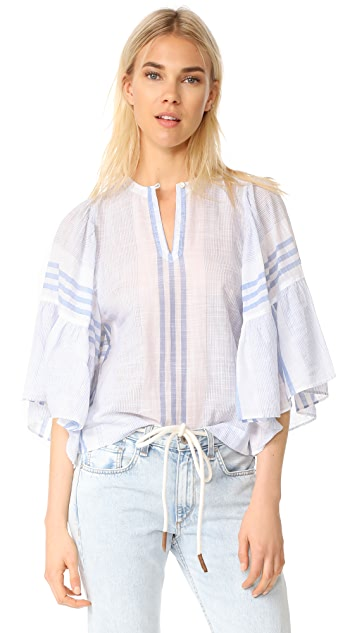 La Vie Rebecca Taylor Short Sleeve Variegated Stripe Top