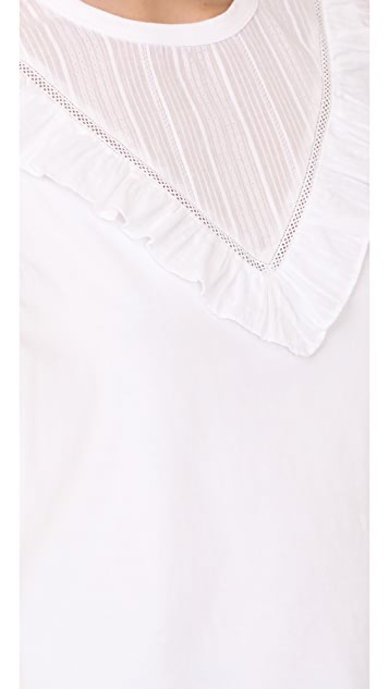 La Vie Rebecca Taylor Short Sleeve Top with Dobby Ruffle