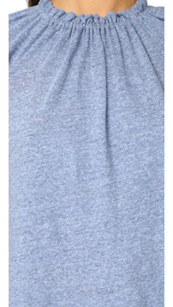 La Vie Rebecca Taylor Short Sleeve Textured Ruffle Jersey Tee