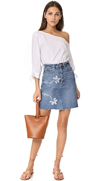 La Vie Rebecca Taylor Fleur Patch Denim Skirt