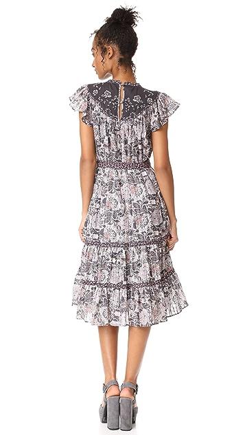 La Vie Rebecca Taylor Sleeveless Indochine Embroidery Dress
