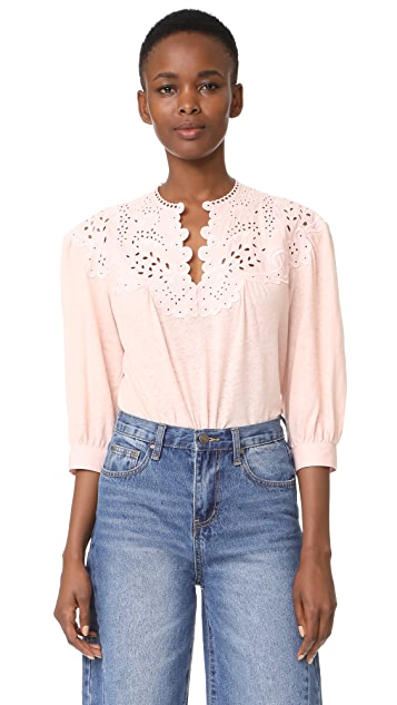 La Vie Rebecca Taylor Long Sleeve Textured Eyelet Blouse