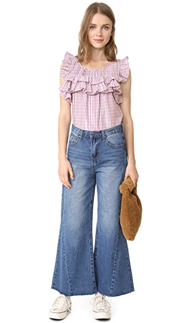 La Vie Rebecca Taylor Short Sleeve Plaid Top