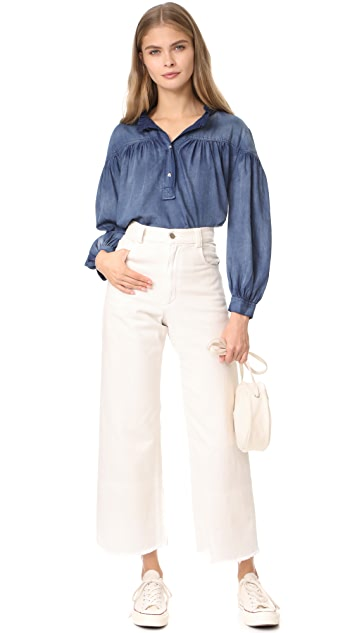 La Vie Rebecca Taylor Long Sleeve Tissue Denim Top