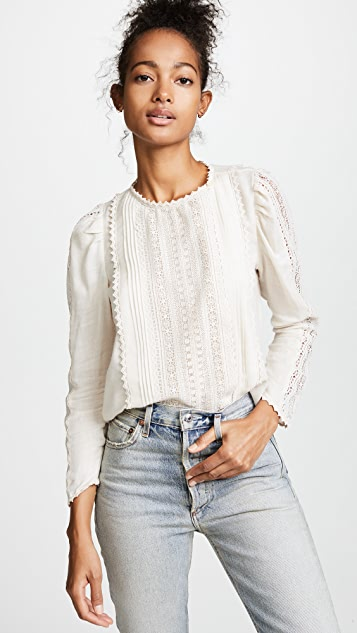 La Vie Rebecca Taylor Long Sleeve Gauze Lace Top