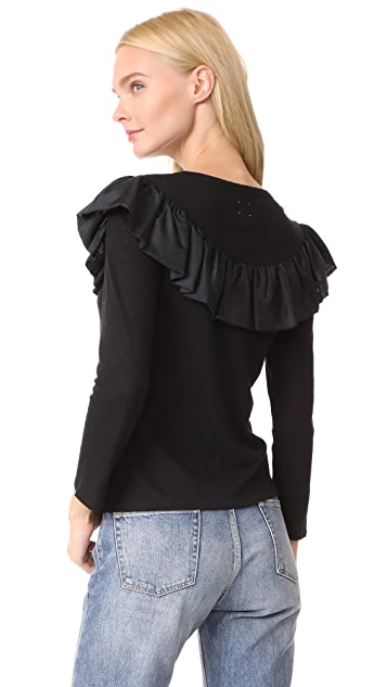 La Vie Rebecca Taylor Long Sleeve Silk Ruffle Top