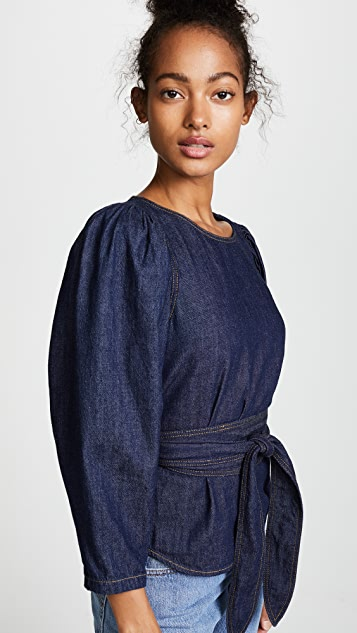 La Vie Rebecca Taylor Long Sleeve Denim Belt Top