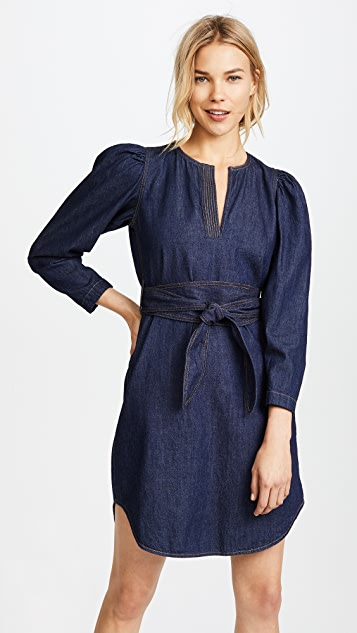 La Vie Rebecca Taylor Long Sleeve Denim Belt Dress