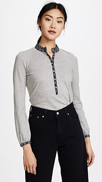 La Vie Rebecca Taylor Long Sleeve Violette Jersey Top - Grey Heather/Dark Navy