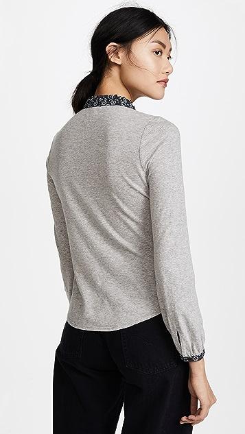 La Vie Rebecca Taylor Long Sleeve Violette Jersey Top
