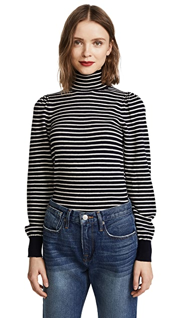 La Vie Rebecca Taylor Stripe Rib Turtleneck Pullover