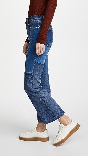 La Vie Rebecca Taylor La Vie Patched Velvet & Denim Jeans