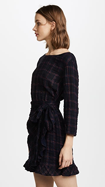 La Vie Rebecca Taylor Long Sleeve Metallic Plaid Dress