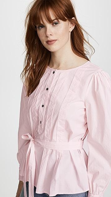 La Vie Rebecca Taylor Long Sleeve Belted Pop Top