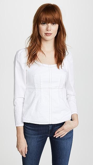 La Vie Rebecca Taylor Long Sleeve Twill Top