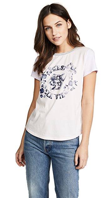 La Vie Rebecca Taylor Short Sleeve Jersey Tee with Tiger Logo