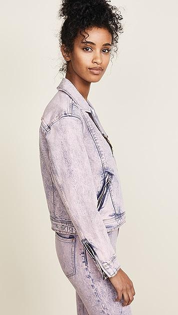 La Vie Rebecca Taylor Denim Moto Jacket