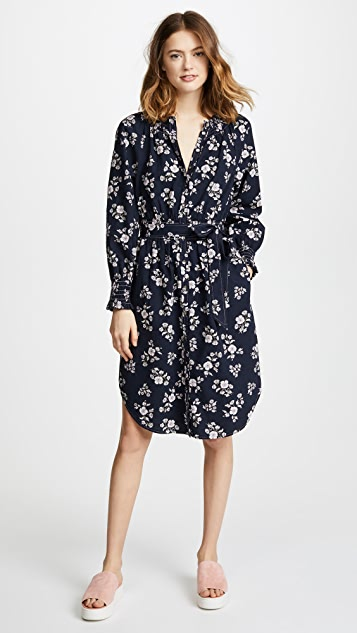 La Vie Rebecca Taylor Long Sleeve Camille Dress - Midnight Navy Combo