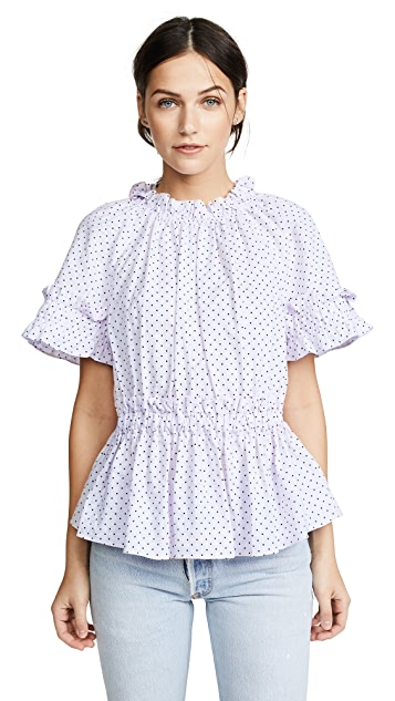 La Vie Rebecca Taylor Short Sleeve Dahlia Dot Top