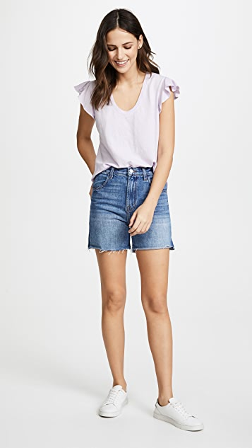 La Vie Rebecca Taylor Short Sleeve Tee in Washed, Textured Jersey
