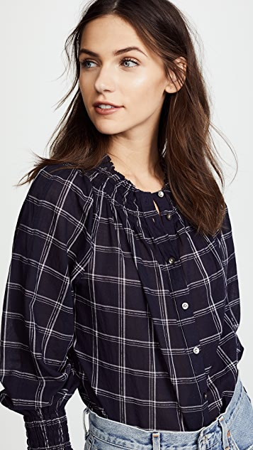 La Vie Rebecca Taylor Long Sleeve Windowpane Top