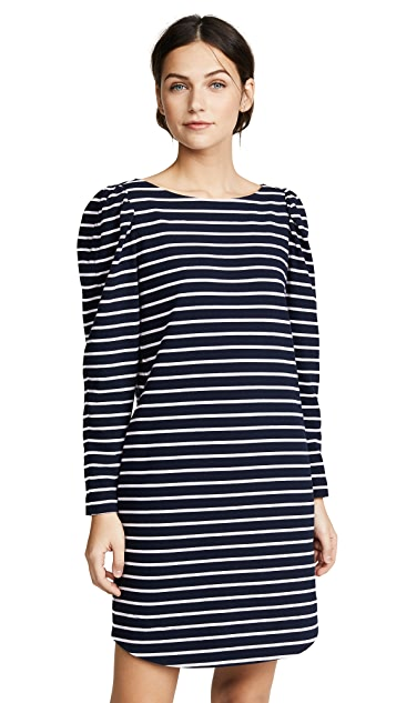 La Vie Rebecca Taylor Long Sleeve Yard Dyed Dress with Stripes