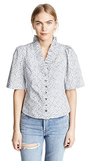 La Vie Rebecca Taylor Short Sleeve Meadow Floral Top