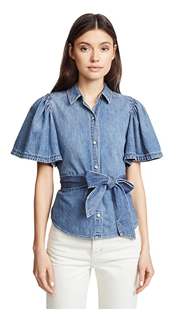 La Vie Rebecca Taylor Short Sleeve Denim Top with Tie