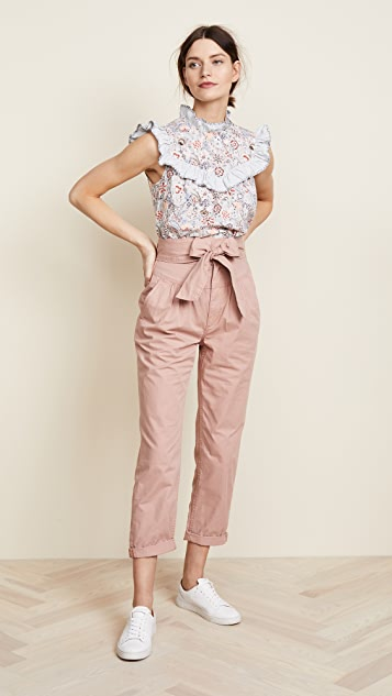 La Vie Rebecca Taylor Twill Pants With Tie