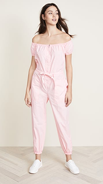 La Vie Rebecca Taylor Off Shoulder Parachute Jumpsuit