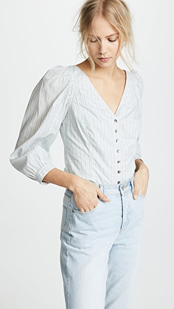 La Vie Rebecca Taylor Long Sleeve Stripe Mix Top