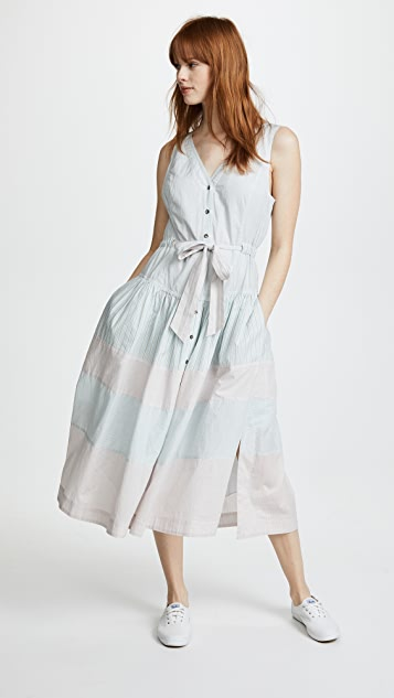 La Vie Rebecca Taylor Short Sleeve Stripe Mix Dress