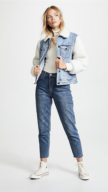 La Vie Rebecca Taylor Classic Denim & Faux Fur Jacket