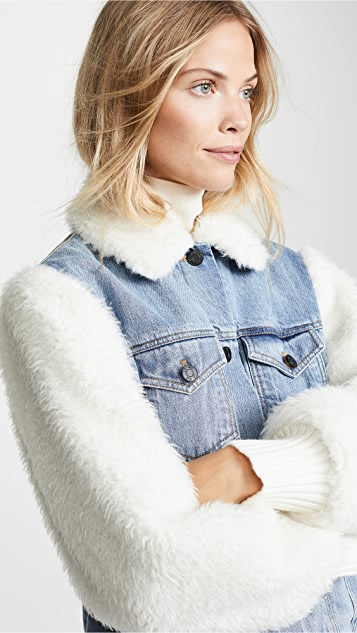 f9e432fe8 Classic Denim & Faux Fur Jacket