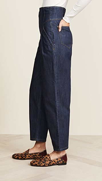 La Vie Rebecca Taylor Pleated High Waist Jeans