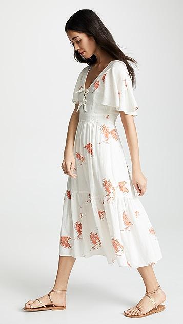 La Vie Rebecca Taylor Short Sleeve Bird Print Dress