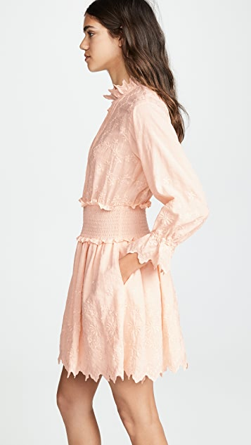 La Vie Rebecca Taylor Long Sleeve Embroidered Voile Dress