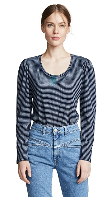 La Vie Rebecca Taylor Long Sleeve Striped Jersey Tee