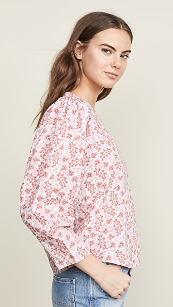 La Vie Rebecca Taylor Long Sleeve Wave Paisley Top
