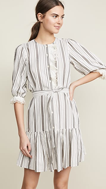 La Vie Rebecca Taylor Long Sleeve Eyelet Stripe Dress