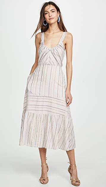 La Vie Rebecca Taylor Sleeveless Metallic Stripe Dress - Faded Lilac