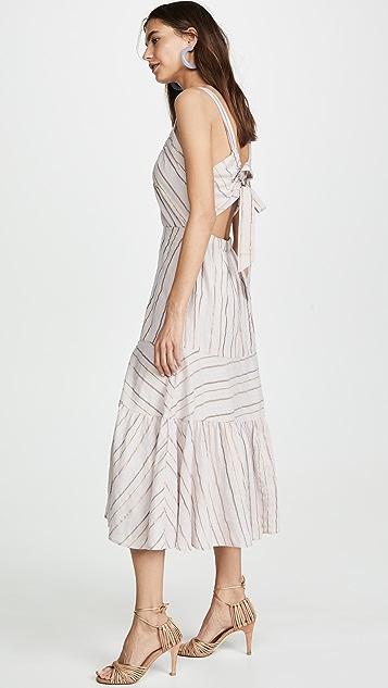 La Vie Rebecca Taylor Sleeveless Metallic Stripe Dress