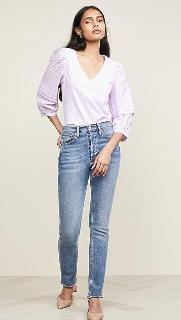 La Vie Rebecca Taylor 巴里纱镶边简洁平纹针织女式衬衫