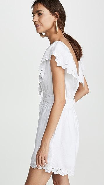 La Vie Rebecca Taylor Sleeveless Embroidery Linen Romper