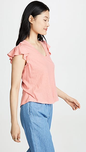 La Vie Rebecca Taylor Sleeveless Washed Textured Jersey Tee