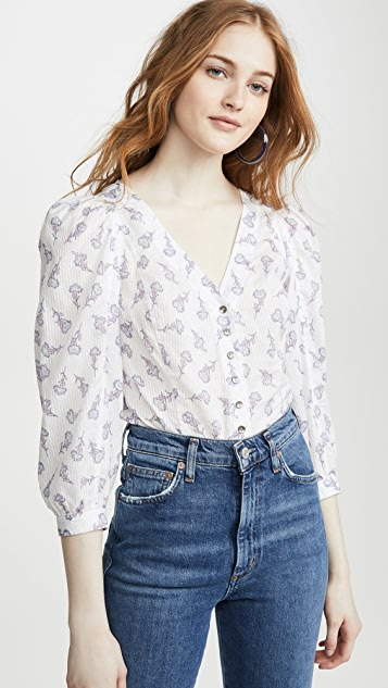 La Vie Rebecca Taylor Long Sleeve Rubie Floral Top