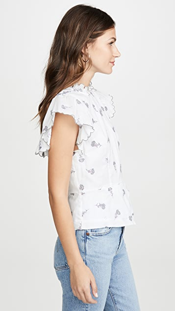 La Vie Rebecca Taylor Sleeveless Rubie Embroidered Top