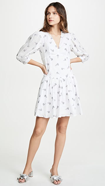 La Vie Rebecca Taylor Short Sleeve Rubie Embroidered Dress