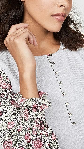 La Vie Rebecca Taylor Long Sleeve Camilla Sleeveless Jersey Top