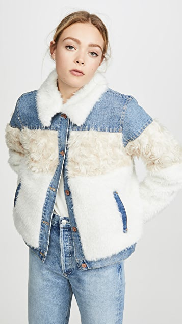 La Vie Rebecca Taylor Fur & Denim Jacket